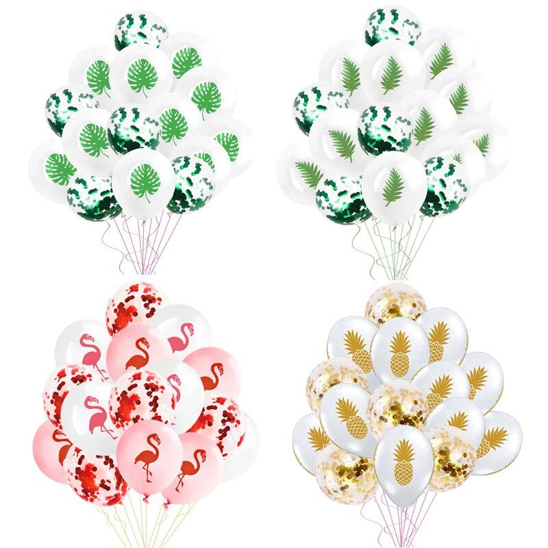 15pcs Flamingo Pineapple Confetti Balloons Wedding Decoration