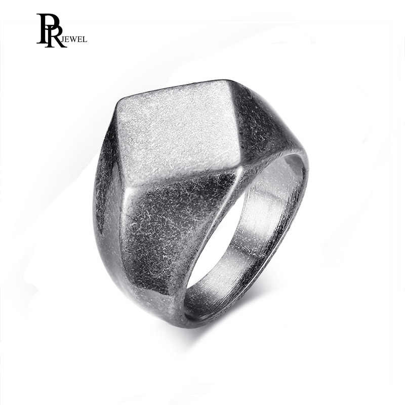 VINTAGE สแตนเลสสตีล Rhombus ตัดหล่อง่าย BIKER แหวนสำหรับชายหนุ่มขนาด 8 9 10 11 12