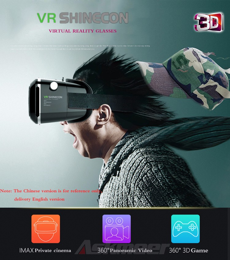 VR Shinecon VR Virtual Reality 3D Glasses Headband Cardboard Headmount Mobile 3D Movie Games for iPhoneSamsung 4.7-6 Smartphone (1)