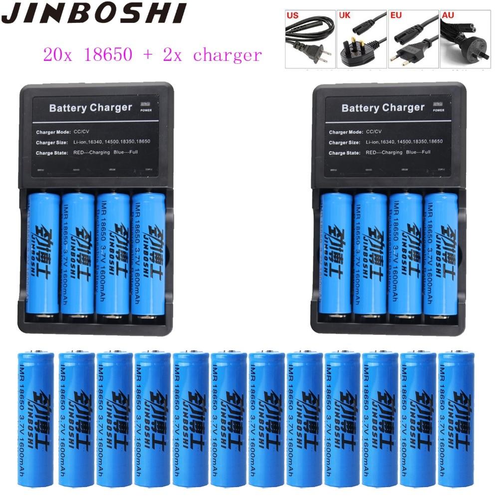 20 pcs 18650 batterie 3.7 V 1600 mAh batterie Rechargeable Li Ion Lithium chargeur de batterie lampe de poche LED + chargeur 2 pièces