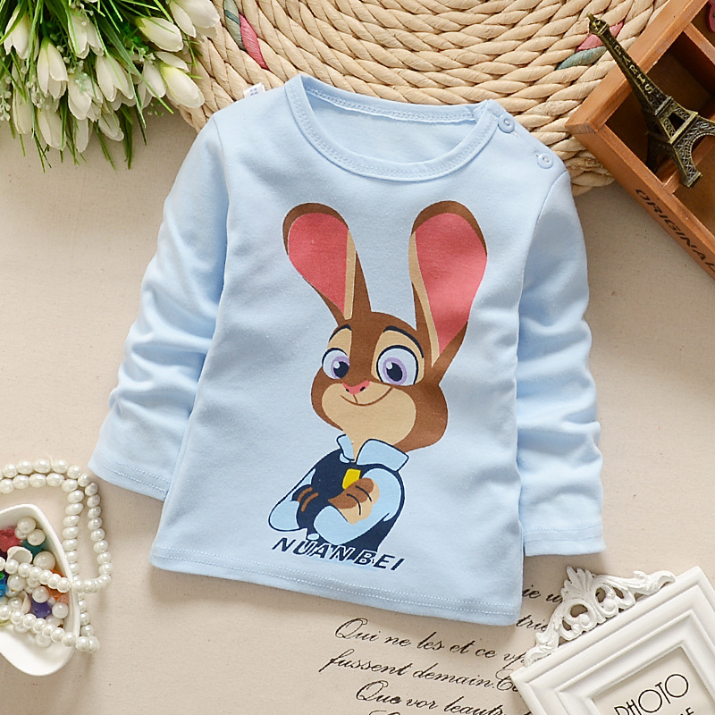 2017 new new baby spring and autumn season cartoon animals suitable for men and women baby trend T sleeve shirt clothing