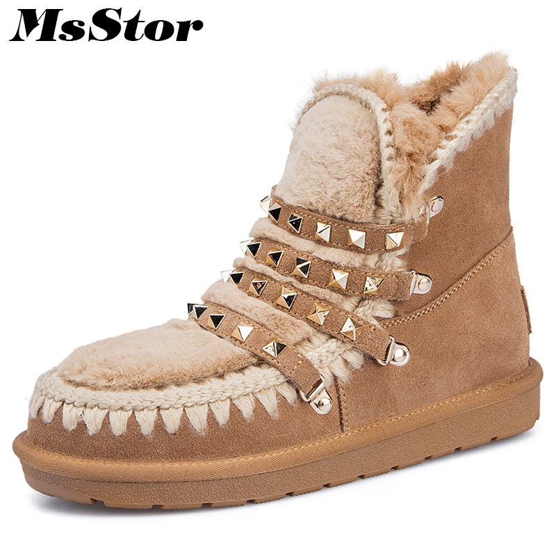 MsStor Women Snow Boots Wool Blend Keep Warm Ankle Boots For Woman Winter Shoes Metal Rivet Wool Cotton Snow Boot Shoes For Girl winter snow boots woman platform ankle boot warm cotton down shoes women s winter snow boots female winte boots