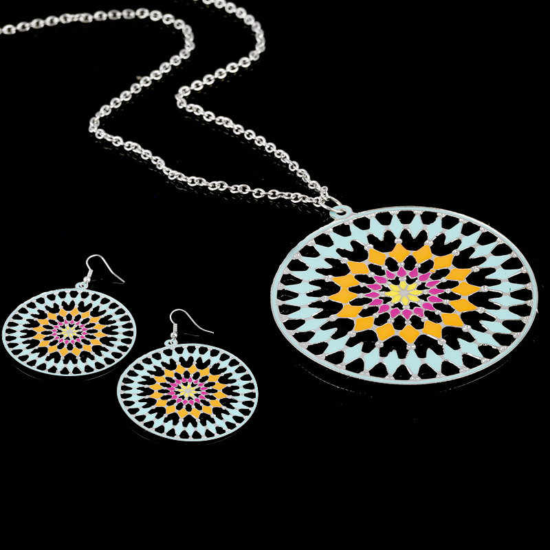 Simple Silver Statement Necklace Long Jewelry Set Round Enamel Jewelry Sets Earrings for Women Nickel Free de Aretes y Collar