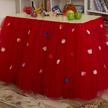 Новое качество свадебный стол плинтус Творческий Рождество день рождения Таблица юбки с милым бантом Таблица юбка