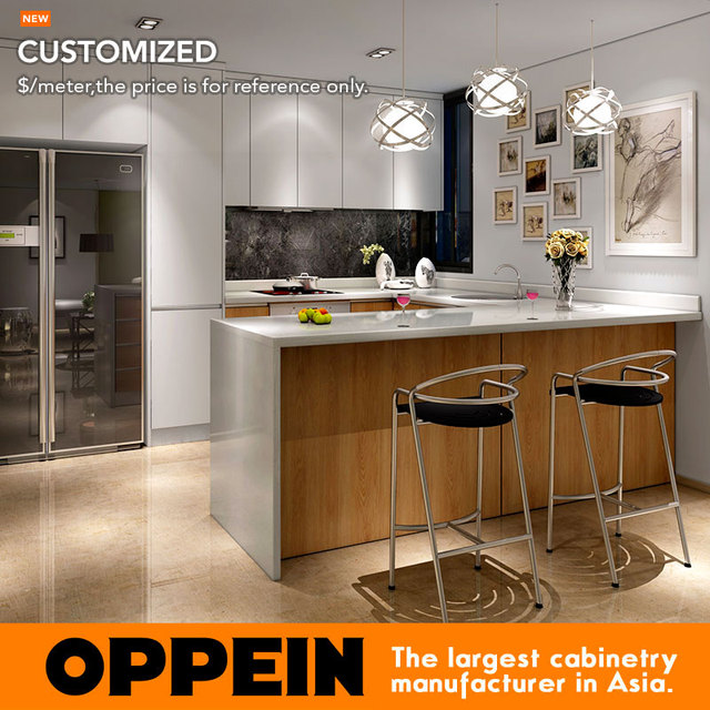 Guangzhou Modern White Matte Lacquer And Wood Grain Melamine Kitchen Cabinet  OP16 L05