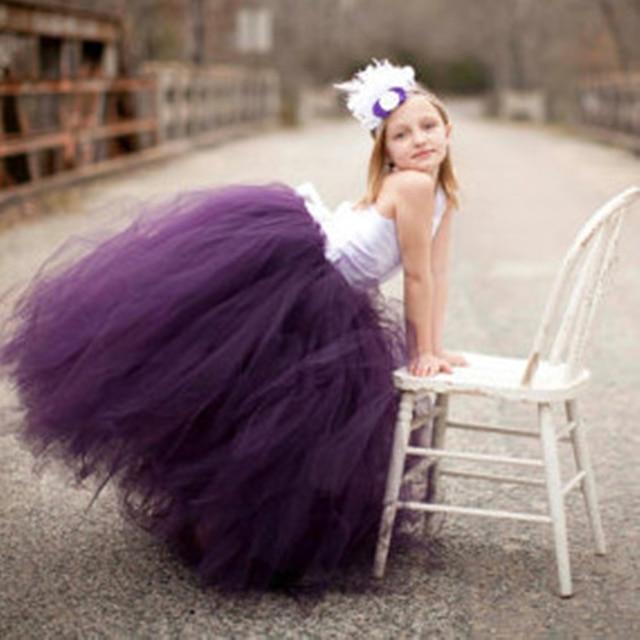 Фиолетовое платье с цветочным рисунком одежда для свадьбы, дня рождения детская одежда для девочек Детское платье-пачка для девочек для вечерние Девушка Костюмы бальное платье pt26