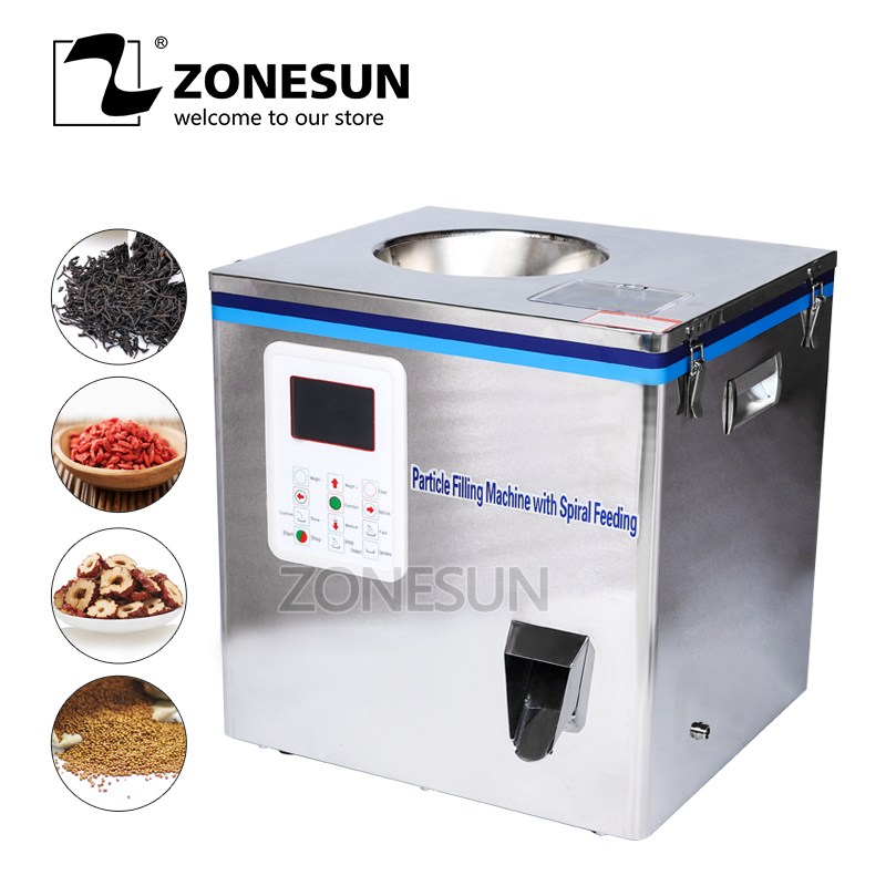 ZONESUN Tea Packaging Machine Sachet Filling Machine Can Filling Machine Granule Medlar Automatic Weighing Machine Powder