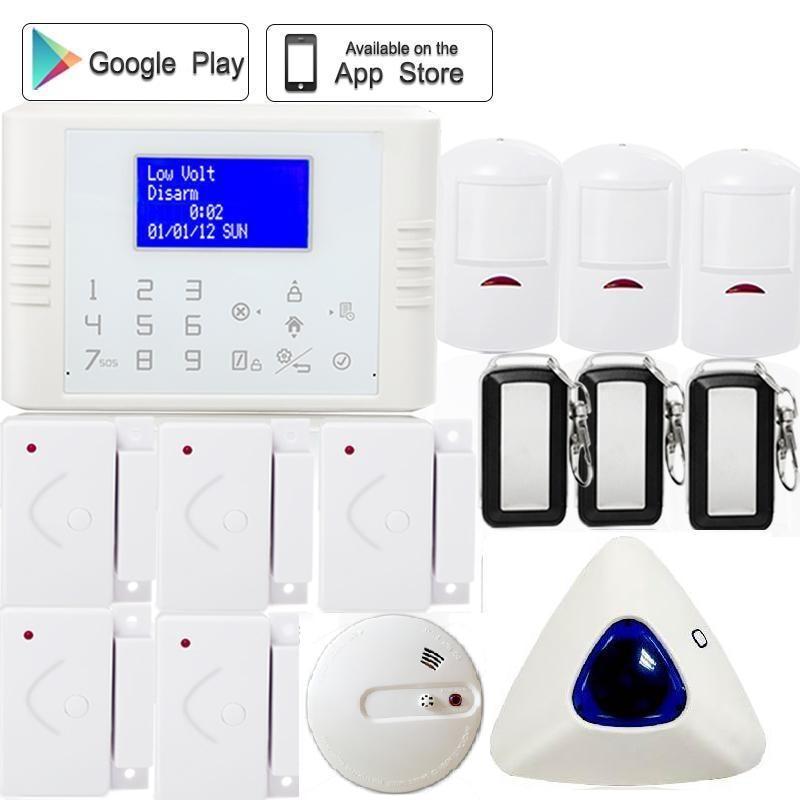 Russian French menu LCD screen APP control anti burglar gsm pstn home alarm system wireless siren heat smoke sensor fire alarm russian phrase book