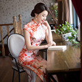 Chinese Traditional Cheongsam Dress Oriental Qipao Long Evening Gown Robe Chinoise China Wedding Dresses Flower Silk Qi Pao