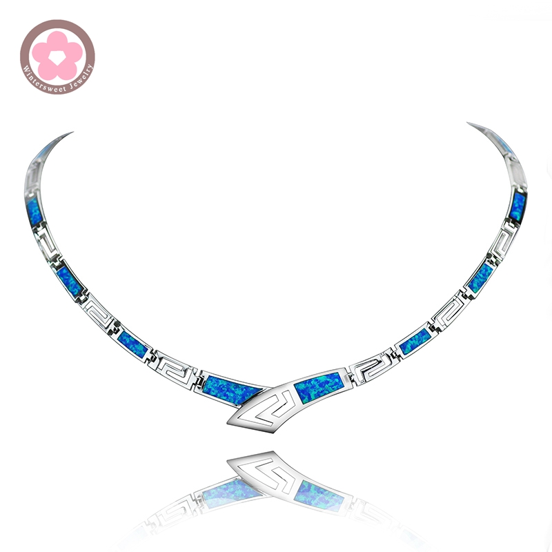 JZN0006 Necktie Shape Necklace Unique Design Top Quality Blue Opal Gem Silver Necklace for charm Women Jewelry Christmas Gift jzn0007 top quality blue opal gem silver necklace new trendy necklace for women fine jewelry gorgeous unisex chain necklace