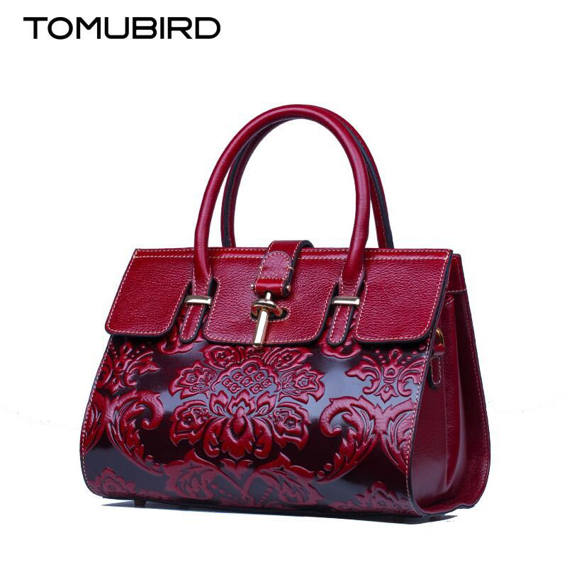 TOMUBIRD 2017 New women genuine leather bag fashion chinese style hand embossing leather art bag women leather handbags fashion star 2017 new fashion women s hand recliner leather bag female casual style