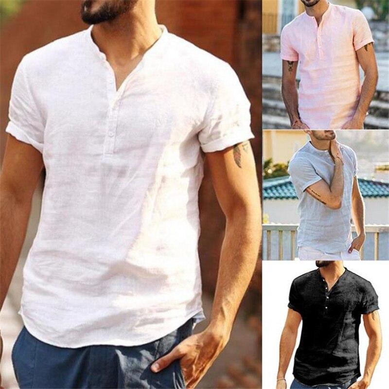 Мужские повседневные хлопковые льняные белые рубашки с коротким рукавом, модные мужские свободные рубашки с v-образным вырезом на пуговица...