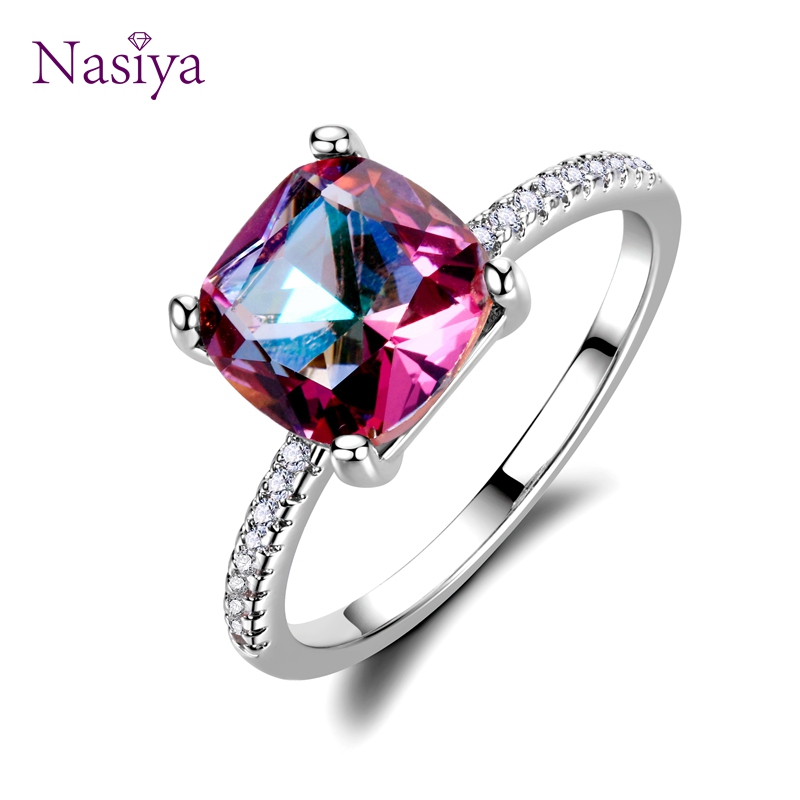 Hot Sale Silver 925 jewelry Rings for Women Chamfer Square