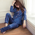 2107 Spring and Autumn fitted stripes comfortable silk sexy silk women's pajamas pajamas two sets of air-conditioned room home s
