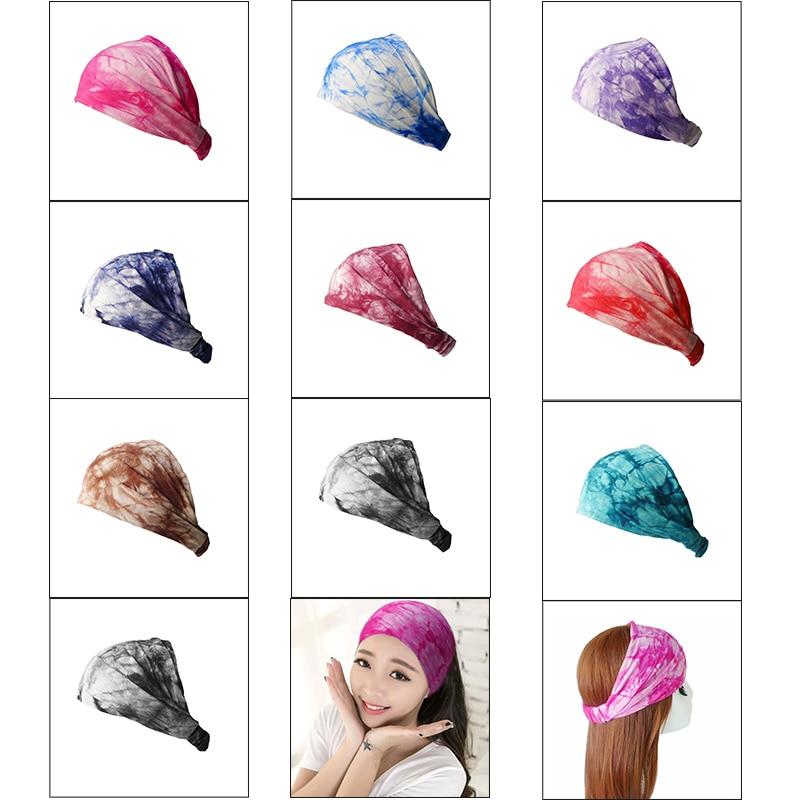 BOHO Tie Dye Cotton Headbands Bandana Turban Head Wrap Elastic For Women Girl Hair Bands Hair
