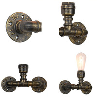 Fashion Retro Vintage Edison Iron Pipe Base Lamp LED Industrial Wall Sconces Holder Bedroom Bedside Wall Lamp Holder Gadget