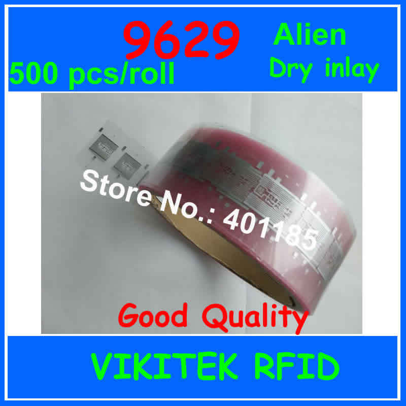 Alien authoried 9629 UHF RFID dry inlay 860-960MHZ Higgs3 EPC C1G2 ISO18000-6C can be used to RFID tag label 500pcs per roll 500pcs rfid one off coated paper wristbands tag epc gen2 support alien h3 chip used for personnal management