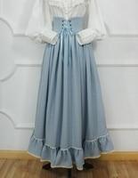 Vintage Medieval Skirt Women Victorian =Long Striped High Waist Gothic Lolita Skirts