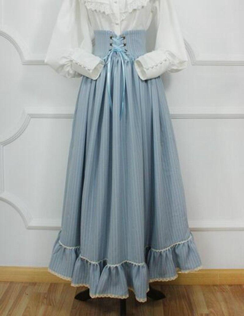 Vintage médiévale jupe femmes victorienne = longues rayures taille haute gothique Lolita jupes