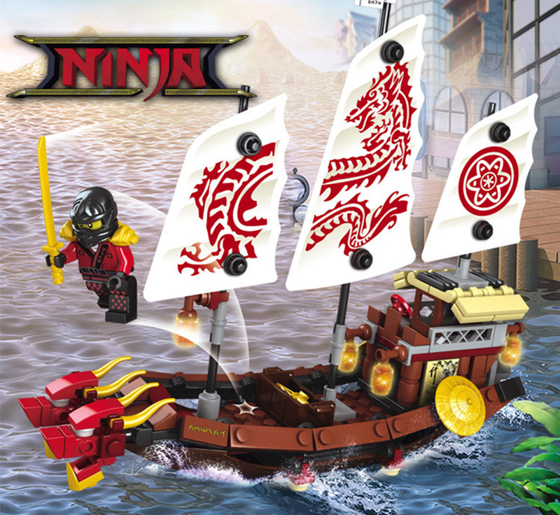 207pcs 2in1 Ninja Destiny Awards Ninja Dragon Boat DIY Building Block Educational Toys For Children Compatible Legoingly Ninjago