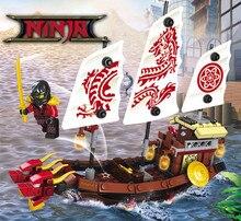207pcs 2in1 Ninja Destiny Awards Ninja Dragon Boat DIY Building Block Educational Toys For Children Compatible  Ninjago