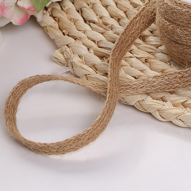 Natural Burlap Hessian Roll Jute Twine Cord Hemp Rope String Trim Rustic Wrap Gift Packing String Wedding Party Decoration 1pc