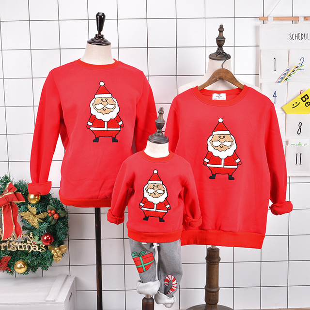 c4043fbfa Christmas Family Clothes Matching Mother Daughter Clothes Father Son Outfits  Winter Cartoon Children Clothing Warm Family Shirt