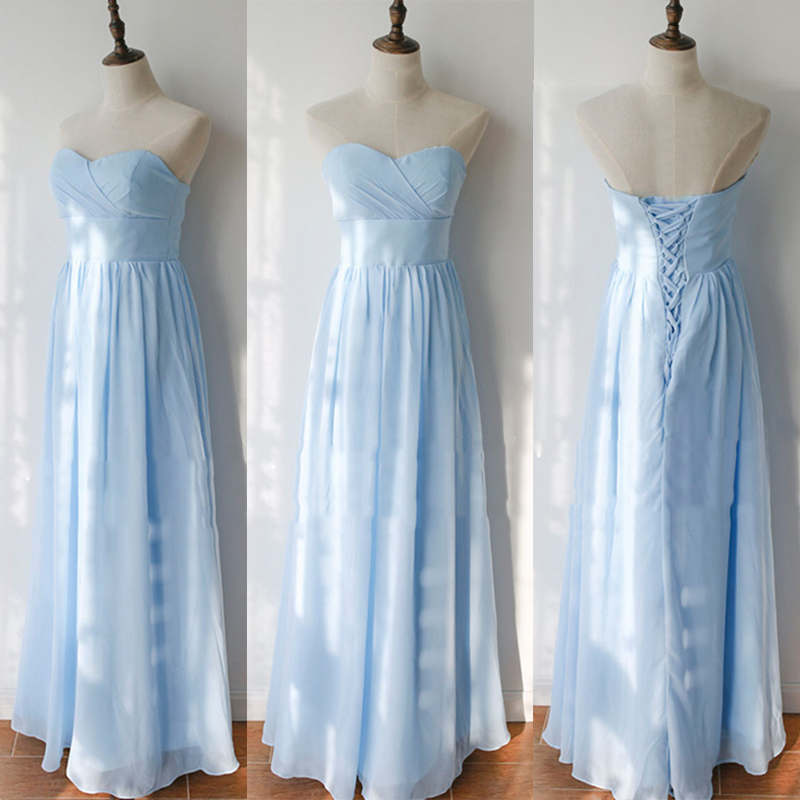 Simple Sweetheat A-line   Bridesmaid     Dresses   2018 Sexy Lace Up Light Blue Floor Length Party Gowns Robe De Soiree Prom   Dress