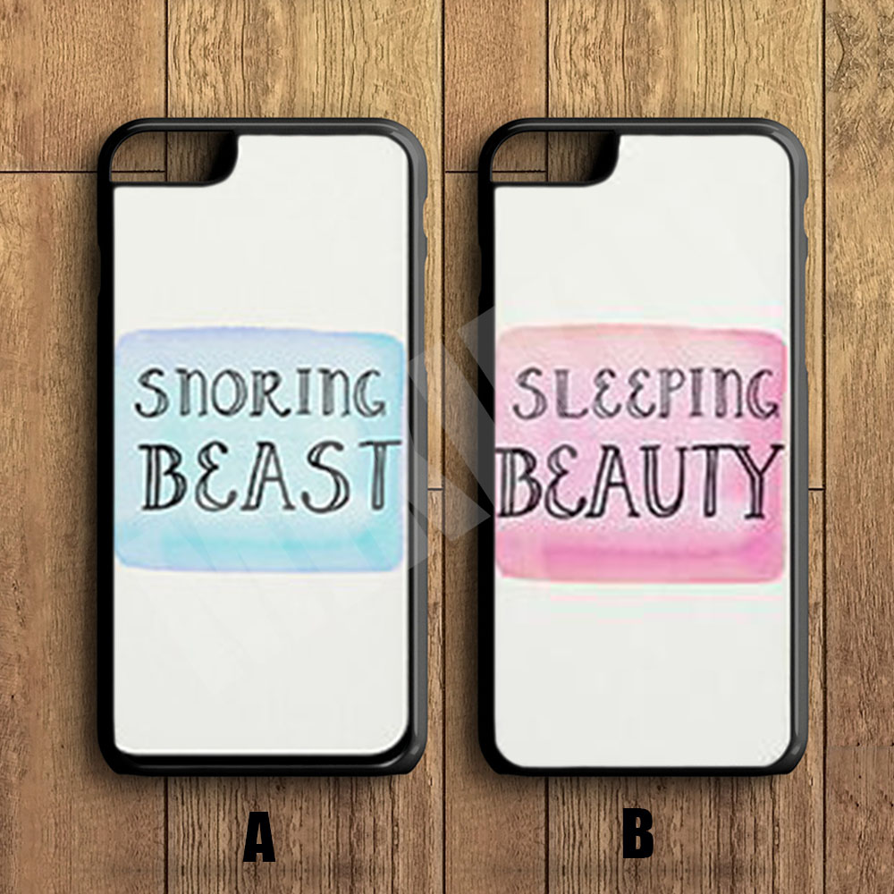 MIKIKIN Snoring Beast & Sleeping Beauty Cell Phone Couple Protective Case For iPhone X 8 8+ 7 7+ 6 6S Plus SE 5 5S 5C 4 4S