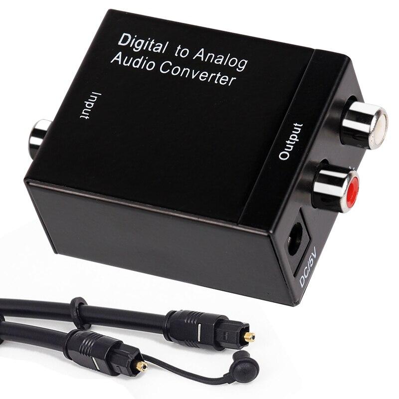 DAC Digital a analógico convertidor de Audio con Coaxial óptico Toslink entrada a analógico 3,5mm RCA salida de Audio decodificador para TV altavoz
