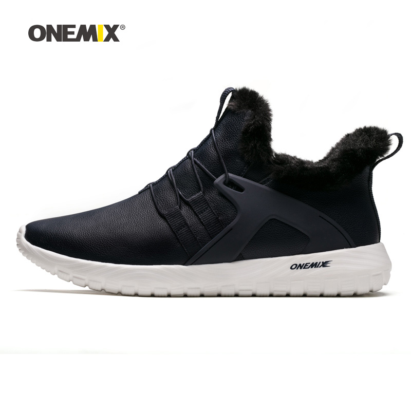 ONEMIX Men Winter Walking Shoes Soft Comfort Waterproof Outdoor Warm Snow Boots Gray Male Tennis Sports Trainers Trail Sneakers-in Walking Shoes from Sports & Entertainment    3