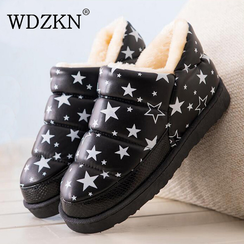WDZKN 2019 Women Winter Snow Boots Botas Femininas Flat Waterproof Warm Thick Plush Ankle Boots For Women Winter Platform Shoes image