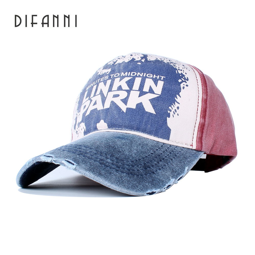Difanni Casual Letter LINKIN PARK   Cap   Adjustable Cotton Hat Solid Snapback Outdoor Sports Gorras Hip Hop Men Women   Baseball     Cap