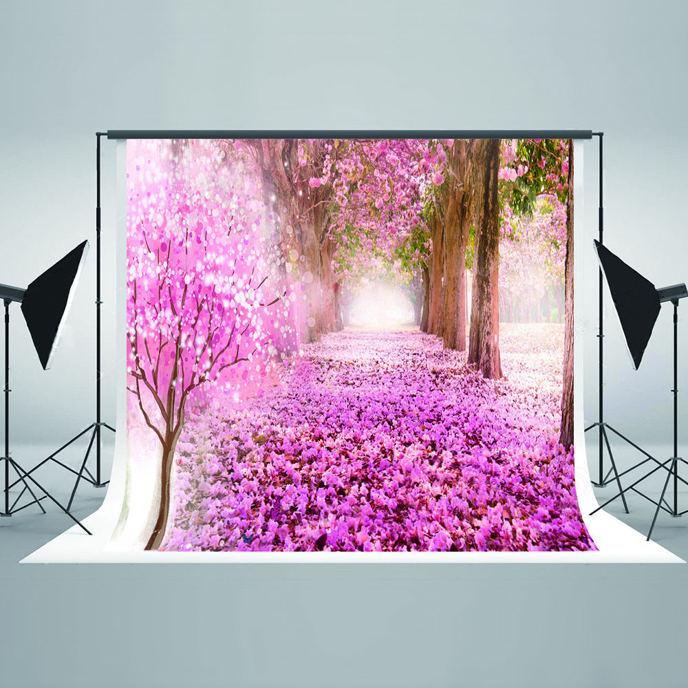 KATE 10X10FT Japanese Pink Photographic Background Cherry Blossoms Tree Backgrounds For Photo Studio Flower Cotton Backdrop diy miniature pink cherry blossoms
