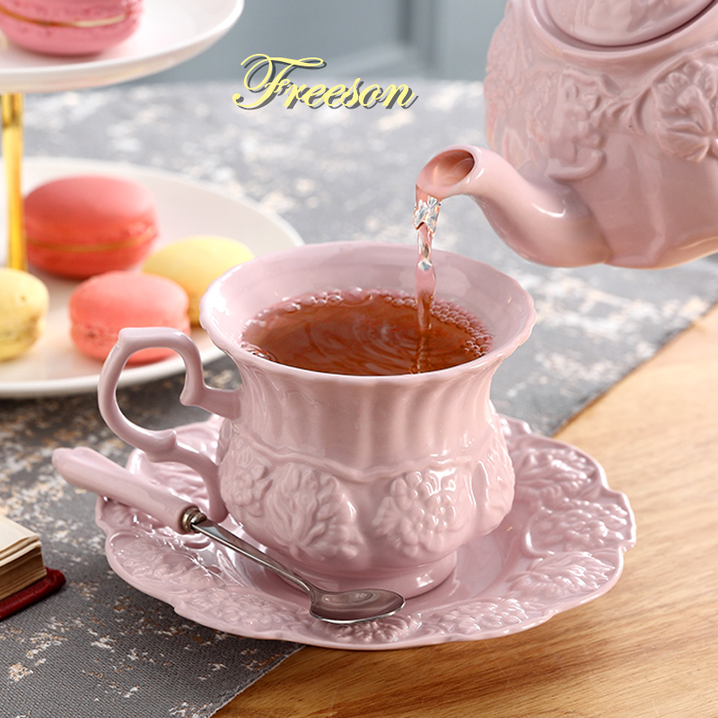 Elegant Pink Porcelain Tea Set Retro Ceramic Tea Cup Pot British Floral Teapot Mug Cafe Teatime Coffee Cup