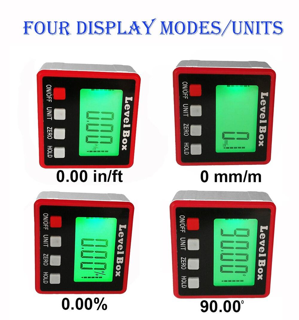 Digital transferidor ângulo finder nível caixa digital inclinômetro ângulo ferramenta de medição com base magnética portátil