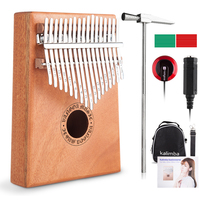17 Keys Kalimba Thumb Piano with Rubber Finger Guards, Tuning Hammer, Carry Bag, Cloth bag, Pickup and Key stickers