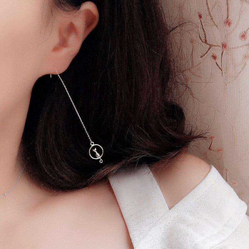 Sterling Silver Cat On Moon Tassel Earrings