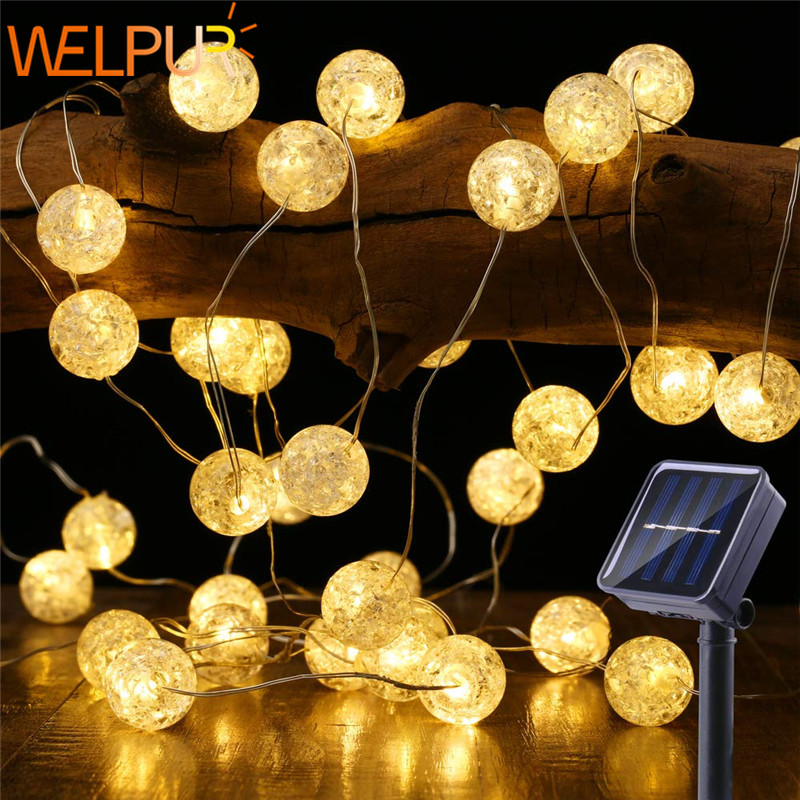 Globe Led Solar String Lights 5m 50LED Crackle Ball Outdoor, 8 Modes Fairy Lights  Warm White Indoor Decorative Garden Light
