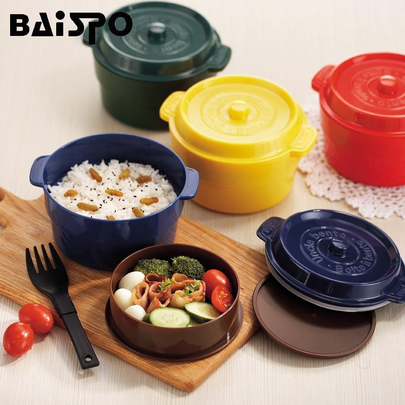 Lancheiras Baispo Criativo Saúde Macarrão Louças Microondas Caixa de Almoço Bento Box Design Redondo Recipiente De Armazenamento De Alimentos Lunchboes