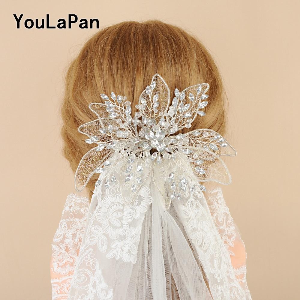YouLaPan Vintage Diamond Wedding Hair Jewelry  Bridal Crown Sliver Rhinestone Wedding Tiara Feather Wedding Headpieces
