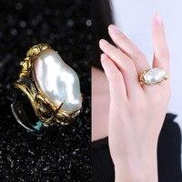 Лидер продаж Длинные ювелирные изделия из жемчуга обработки индивидуальные барокко кольцо женский 925 Серебряная Инкрустация драгоценн