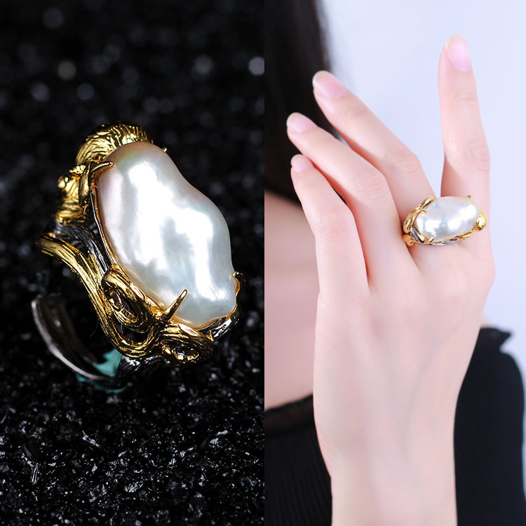 Sell like hot cakes long pearl jewelry processing customized baroque ring ring female 925 silver inlay gems factory цены
