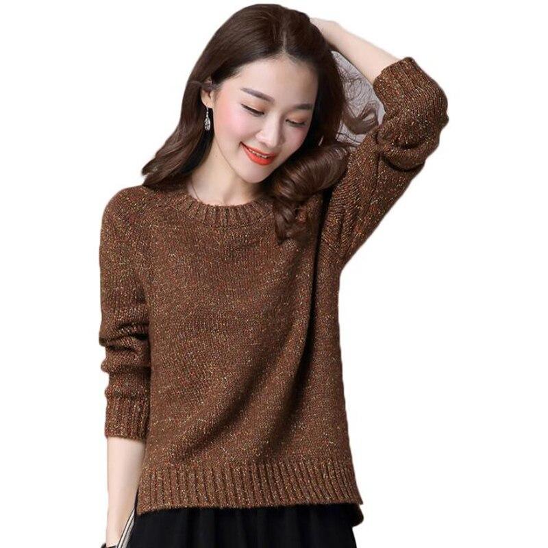 2018 automne hiver coréen court chandail épaissir femmes o-cou lâche pull tricot chandail mode solide femme hauts pull femme
