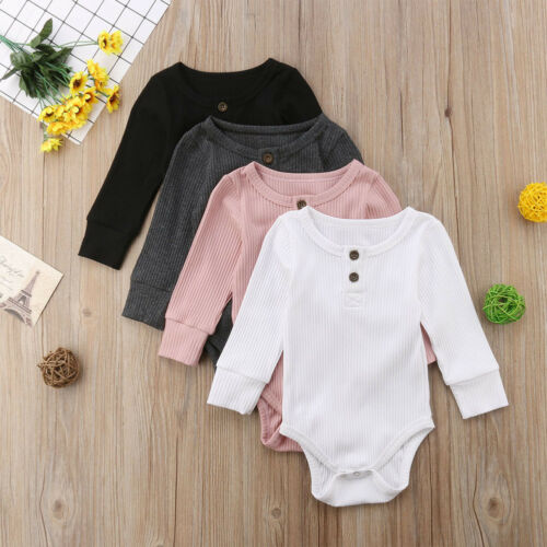 Newborn Boy Girls Knit Baby Clothes Jumpsuit Long Sleeve White Black Grey Pink Bodysuit Playsuit Outfits