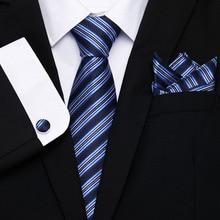 45 Styles Striped Ties Hanky Cufflinks Sets Men's 100% Silk Ties Purple Pink Tie Wedding Party Luxury Male Gravata