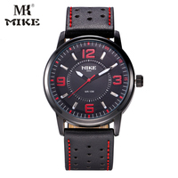 MK Mike Sport Watches For Men 2017 Quartz Watch Genuine Leather Strap Waterproof Japanese Movement Reloj
