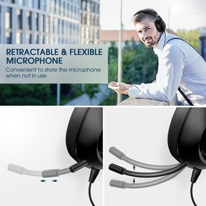Image 4 - Mpow HC4 Wired Headphones For Call Center Retractable Microphone Fold able Headset USB/3.5mm Plug Headphone For Skype PC Tablet
