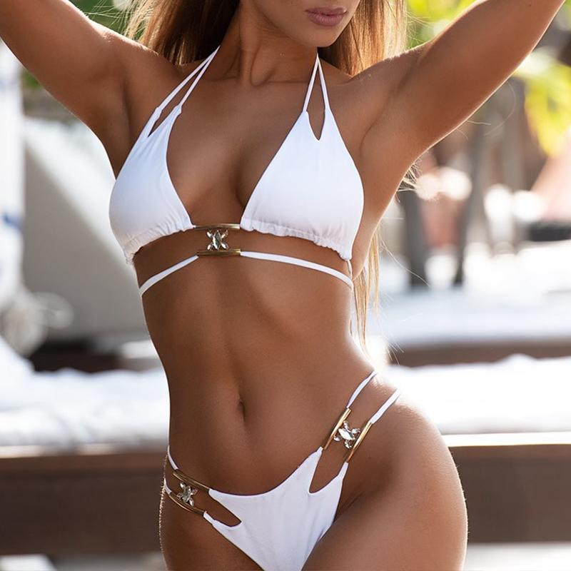 Misswim Sexy string bikinis 2019 mujer Hollow out swimwear women Swimsuit solid female Metallic bikini set bathing suit bathers
