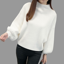 Dámský volný svetr se širokým rukávem Fashion Turtleneck Batwing Sleeve Pullovers Loose Knitted Sweaters Female Jumper Tops